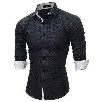 2017 Spring New Classic Lined Dark Lines Lingge Men'S Casual Long-Sleeved Shirt - BLACK M