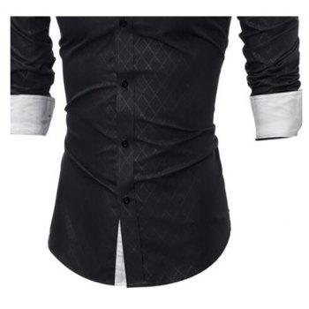 2017 Spring New Classic Lined Dark Lines Lingge Men'S Casual Long-Sleeved Shirt - BLACK L