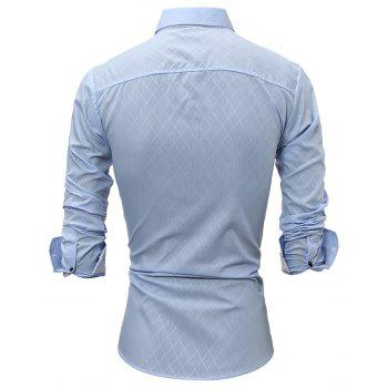 2017 Spring New Classic Lined Dark Lines Lingge Men'S Casual Long-Sleeved Shirt - LIGHT BLUE L