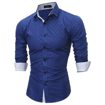 2017 Spring New Classic Lined Dark Lines Lingge Men'S Casual Long-Sleeved Shirt - ROYAL M