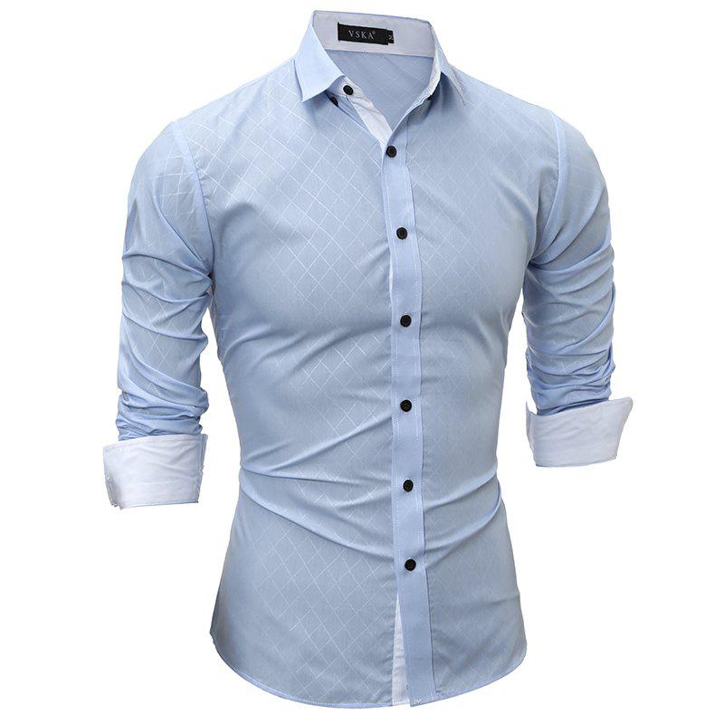 2017 Spring New Classic Lined Dark Lines Lingge Men'S Casual Long-Sleeved Shirt - LIGHT BLUE M