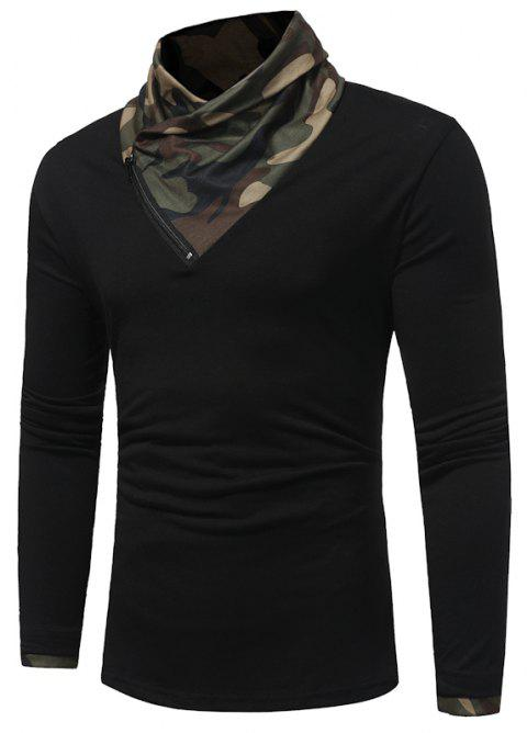 2017 New Men'S Fashion Camouflage Collar Solid Color Slim Long-Sleeved T-Shirt Casual Large Size Primer Shirt - BLACK 2XL