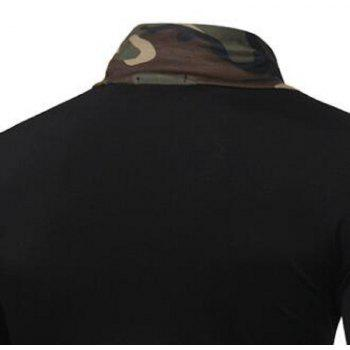 2017 New Men'S Fashion Camouflage Collar Solid Color Slim Long-Sleeved T-Shirt Casual Large Size Primer Shirt - BLACK 3XL