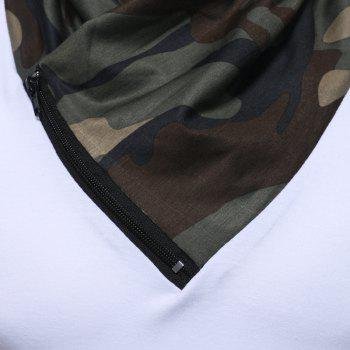 2017 New Men'S Fashion Camouflage Collar Solid Color Slim Long-Sleeved T-Shirt Casual Large Size Primer Shirt - WHITE M