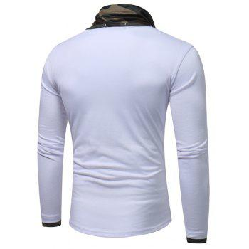 2017 New Men'S Fashion Camouflage Collar Solid Color Slim Long-Sleeved T-Shirt Casual Large Size Primer Shirt - WHITE L