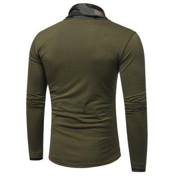 2017 New Men'S Fashion Camouflage Collar Solid Color Slim Long-Sleeved T-Shirt Casual Large Size Primer Shirt - GREEN M