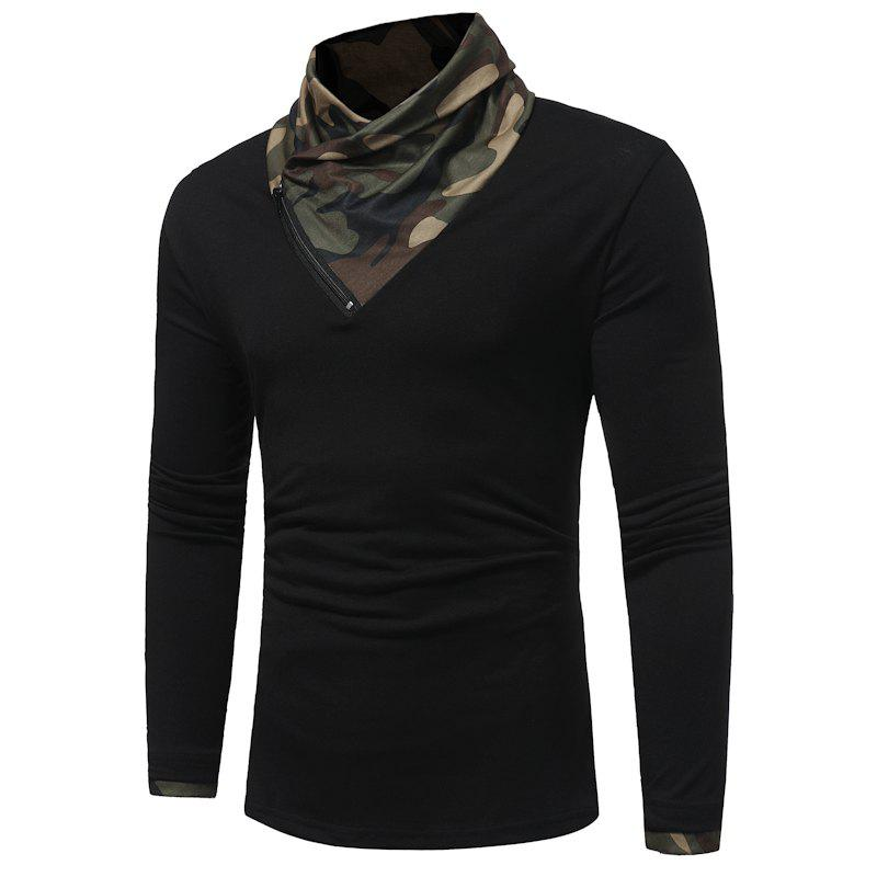 2017 New Men'S Fashion Camouflage Collar Solid Color Slim Long-Sleeved T-Shirt Casual Large Size Primer Shirt - BLACK M
