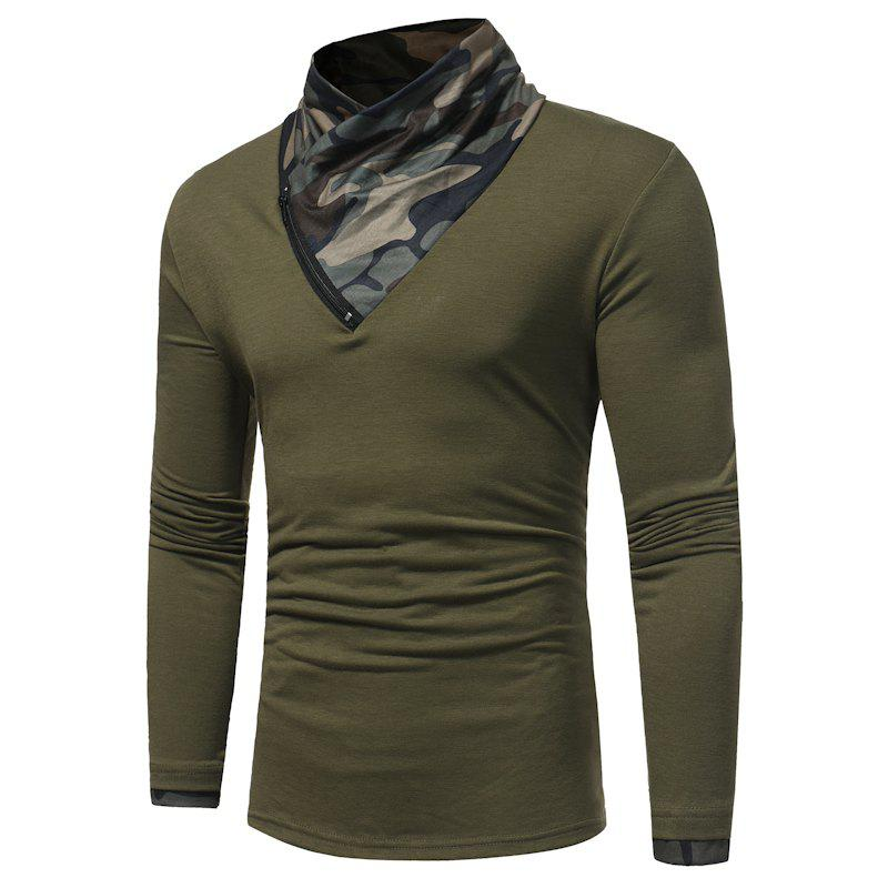 2017 New Men'S Fashion Camouflage Collar Solid Color Slim Long-Sleeved T-Shirt Casual Large Size Primer Shirt - GREEN 2XL