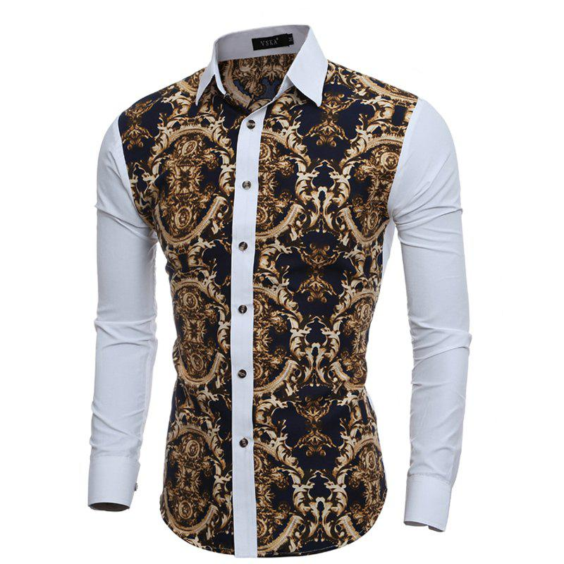 2017 Autumn and Winter New 3D Retro Printed Men'S Casual Slim Long-Sleeved Shirt - WHITE XL
