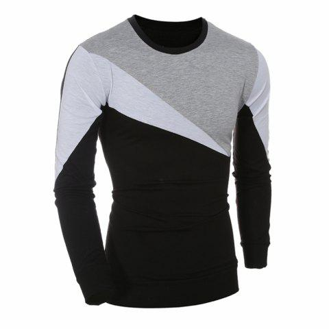 2017 New Fashion Spell Color Men'S Casual Slim Long-Sleeved T-Shirt - GRAY 2XL