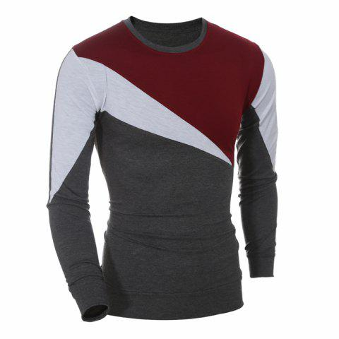 2017 New Fashion Spell Color Men'S Casual Slim Long-Sleeved T-Shirt - RED XL