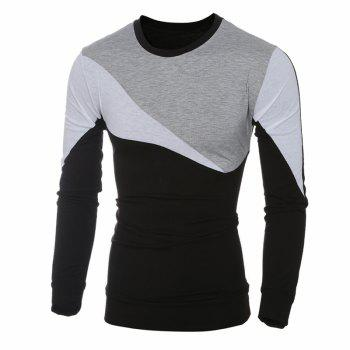 2017 New Fashion Spell Color Men'S Casual Slim Long-Sleeved T-Shirt - GRAY L