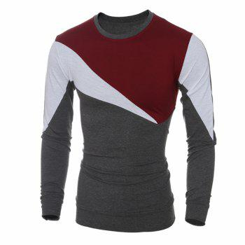 2017 New Fashion Spell Color Men'S Casual Slim Long-Sleeved T-Shirt - RED L