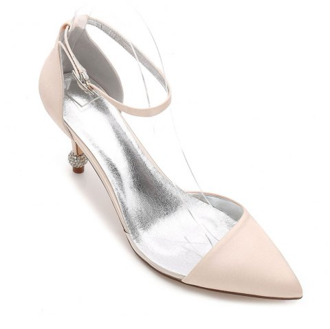 17767-20 Women's Wedding Shoes Comfort Satin Spring Summer - CHAMPAGNE 38