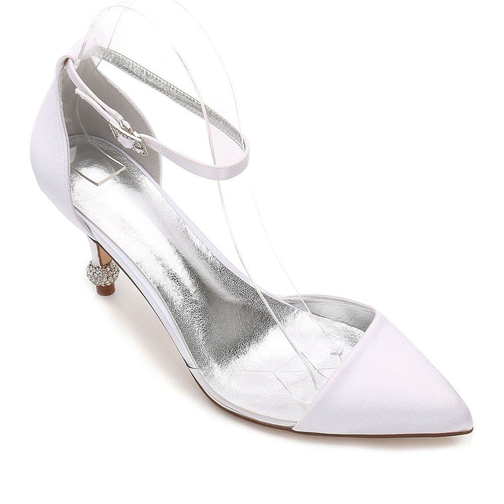 17767-20 Women's Wedding Shoes Comfort Satin Spring Summer - WHITE 38