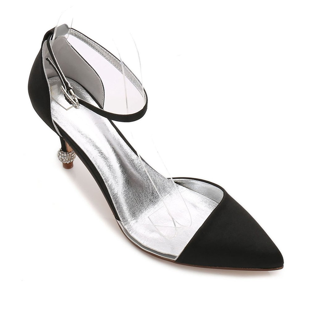 17767-20 Women's Wedding Shoes Comfort Satin Spring Summer - BLACK 37