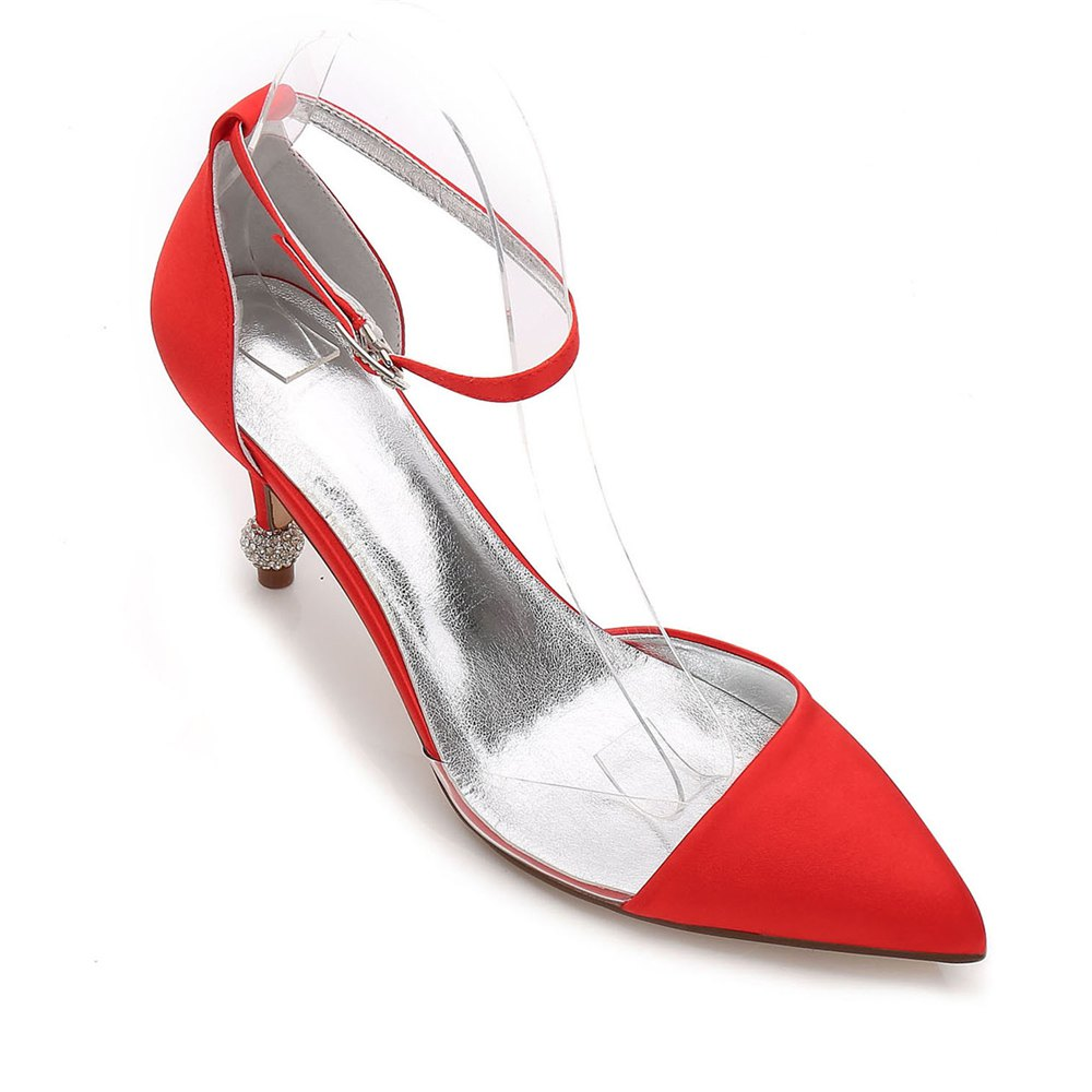 17767-20 Women's Wedding Shoes Comfort Satin Spring Summer - RED 40