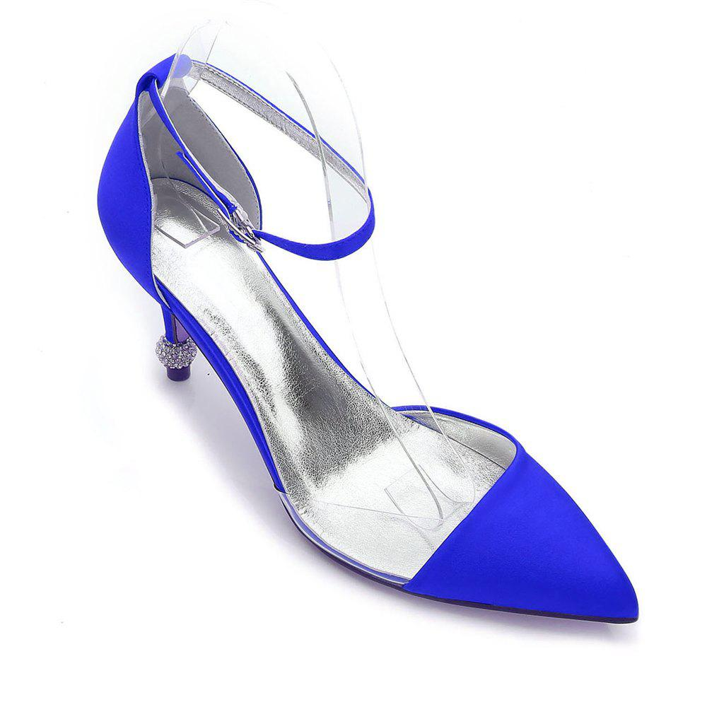 17767-20 Women's Wedding Shoes Comfort Satin Spring Summer - BLUE 41