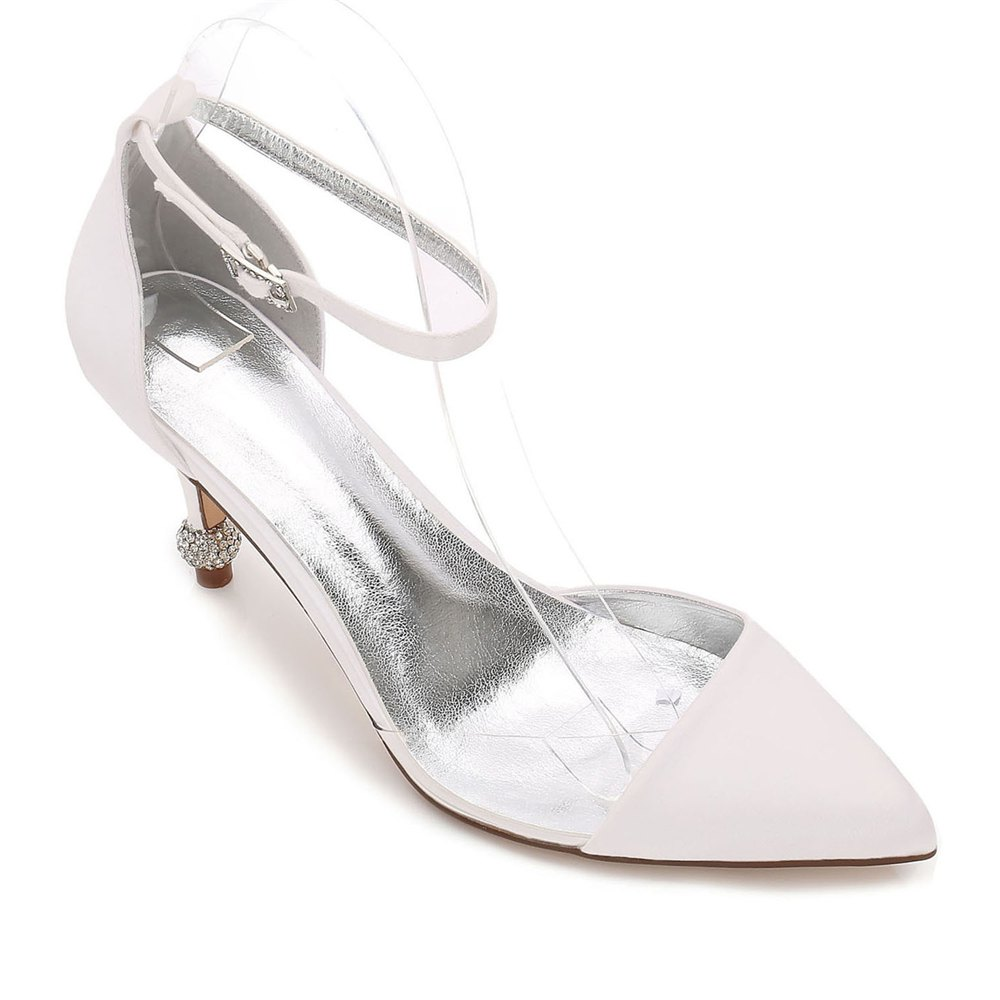 17767-20 Women's Wedding Shoes Comfort Satin Spring Summer - IVORY COLOR 36