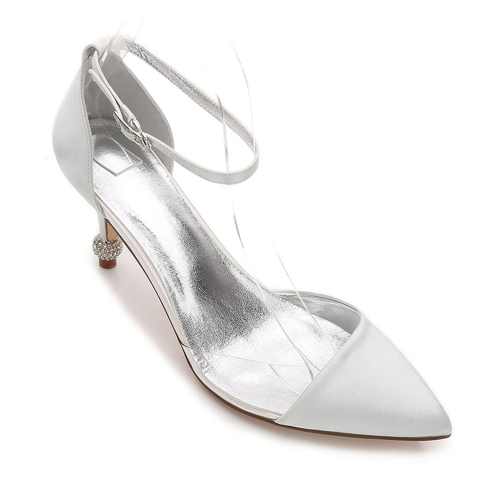 17767-20 Women's Wedding Shoes Comfort Satin Spring Summer - SILVER 38