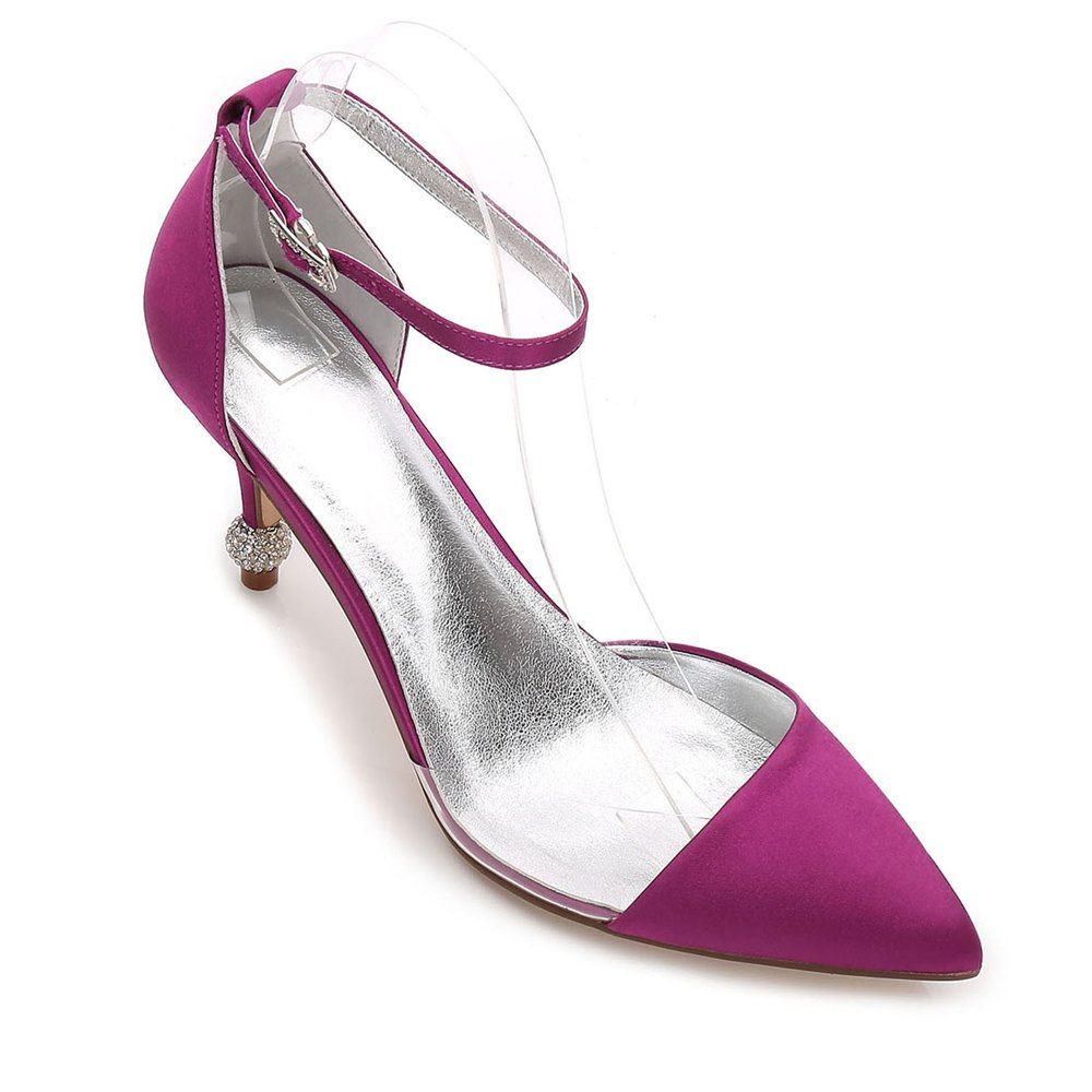 17767-20 Women's Wedding Shoes Comfort Satin Spring Summer - PURPLE 38