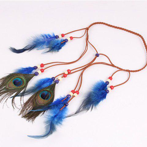 Solid Color Feather Headdress Color Indian Hot Tourist Attractions Hot Headband Photography Accessories - BLUE