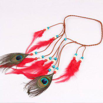 Solid Color Feather Headdress Color Indian Hot Tourist Attractions Hot Headband Photography Accessories - RED RED