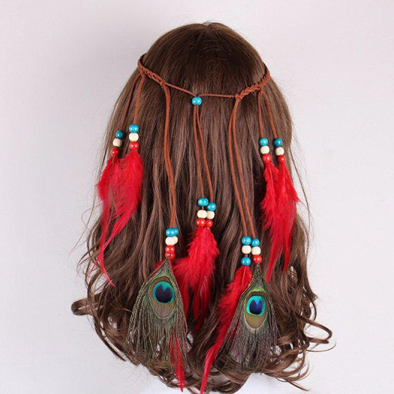 Solid Color Feather Headdress Color Indian Hot Tourist Attractions Hot Headband Photography Accessories - RED