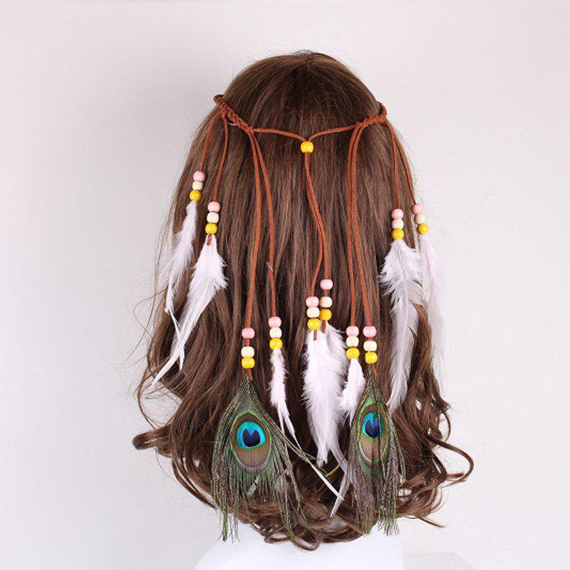 Solid Color Feather Headdress Color Indian Hot Tourist Attractions Hot Headband Photography Accessories - LIGHT PINK