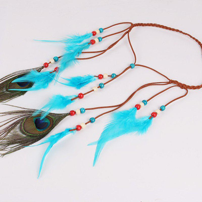 Solid Color Feather Headdress Color Indian Hot Tourist Attractions Hot Headband Photography Accessories - LIGHT BULE