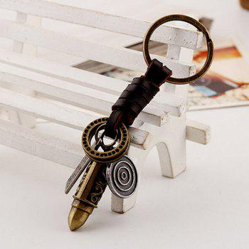 Men's Sculpt Bullet Shaped Woven Unique Key Rings - BRONZE
