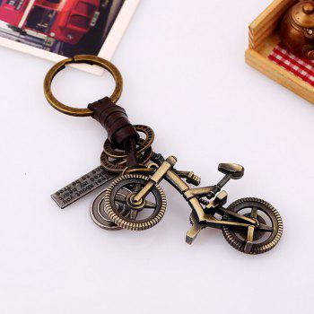 Men's alloy bike lock braided cow leather key chain - BRONZE