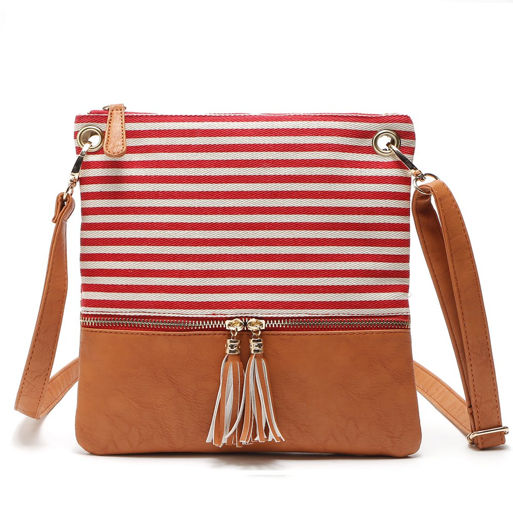 Tassel Crossbody Strip Canvas Shoulder Women Messenger Bag - RED