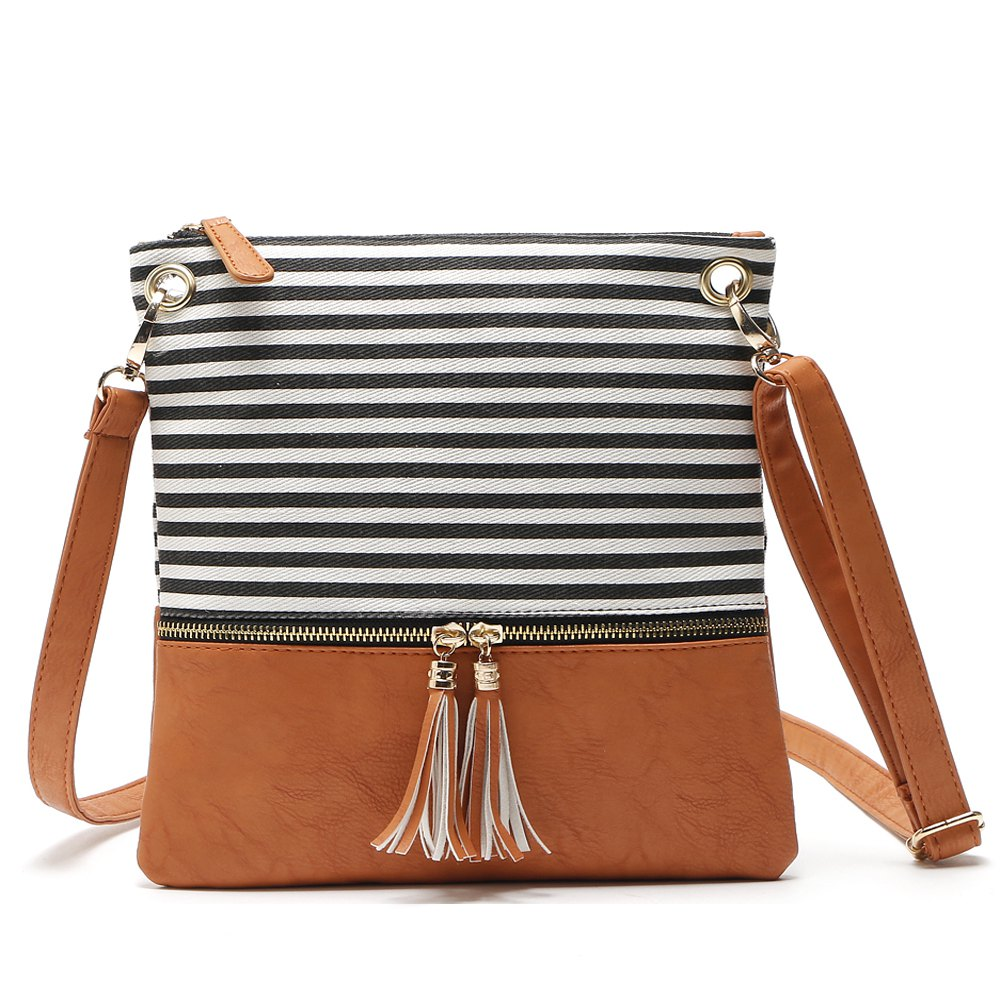 Tassel Crossbody Strip Canvas Shoulder Women Messenger Bag - BLACK