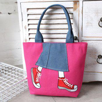 Canvas Girl Jean's Skirt Design Women Handbag Shouder Bag - ROSE RED