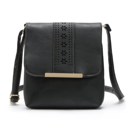 Europe Style Hollow Out Handbags Women PU Leather Crossbody Shoulder Bag - BLACK