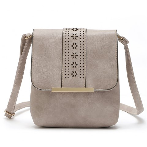 Europe Style Hollow Out Handbags Women PU Leather Crossbody Shoulder Bag - MUD COLOR