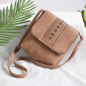 Europe Style Hollow Out Handbags Women PU Leather Crossbody Shoulder Bag - BROWN