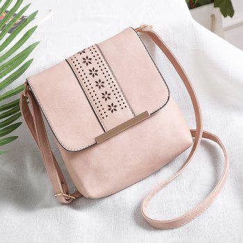 Europe Style Hollow Out Handbags Women PU Leather Crossbody Shoulder Bag - PINK