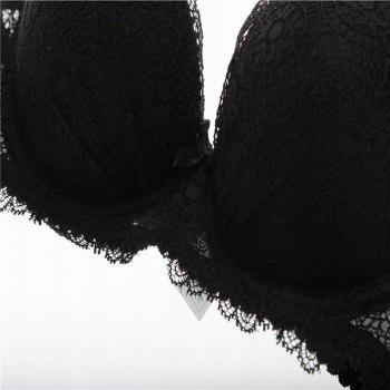 Women Push Up Deep V Lace Bra Sexy Lace Underwear Suits - BLACK 80B