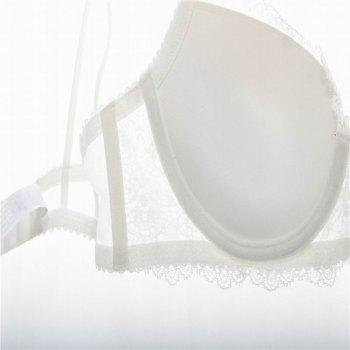 Women Push Up Deep V Lace Bra Sexy Lace Underwear Suits - WHITE WHITE