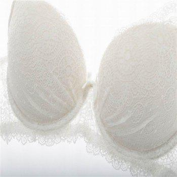 Women Push Up Deep V Lace Bra Sexy Lace Underwear Suits - WHITE 80C