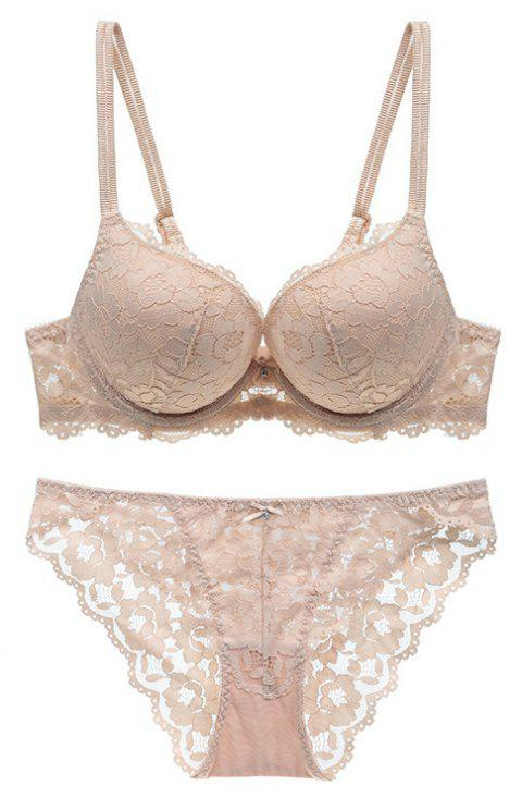 Women Sexy Lace Bra Set High-Grade Luxury Lingerie - BEIGE 70A