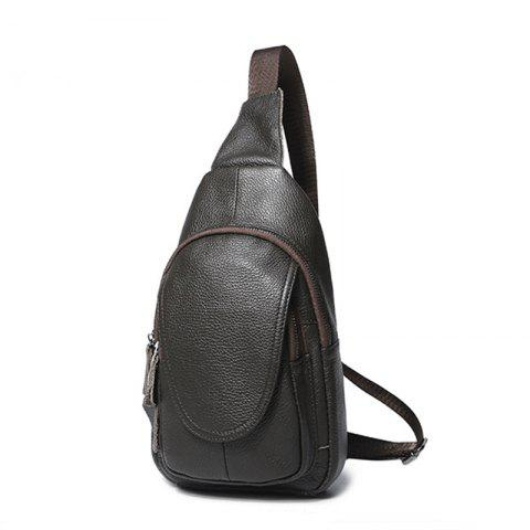 Leather Men and Women Chest Wrapped Cowhide Single Shoulder Oblique Chest Package Fashionable Lovers Packet - COFFEE