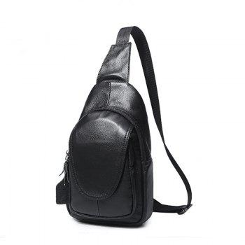 Leather Men and Women Chest Wrapped Cowhide Single Shoulder Oblique Chest Package Fashionable Lovers Packet - BLACK
