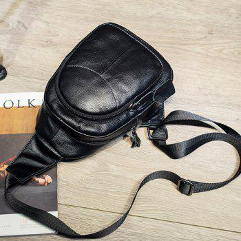 Crossbody Multifunctional Leather Fashion Casual Shoulder Chest Bag for Female - BLACK