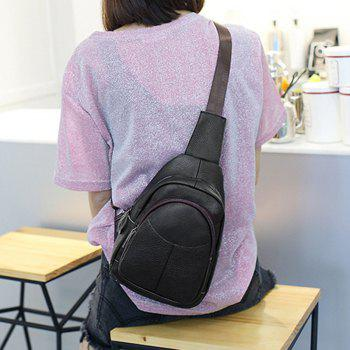 Crossbody Multifunctional Leather Fashion Casual Shoulder Chest Bag for Female - COFFEE