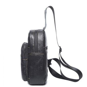 Fashionable Casual Lovers' leather Shoulder Bag - BLACK