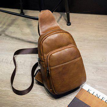 Fashionable Casual Lovers' leather Shoulder Bag - BROWN