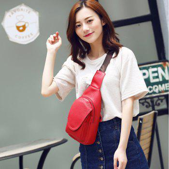 Fashionable and Casual Solid Color Female Slant Bag - RED